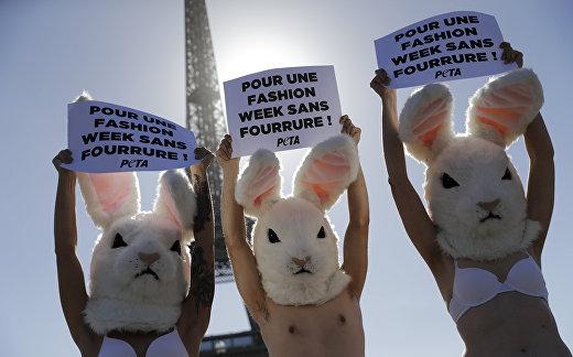 Акция активистов за этическое обращение с животными у Эйфелевой башни в Париже