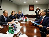 МИД РФ Сергей Лавров встретился с начальником ФДИД Швейцарии Иньяцио Кассисом на Генассамблее ООН в Нью-Йорке. 25 сентября 2018