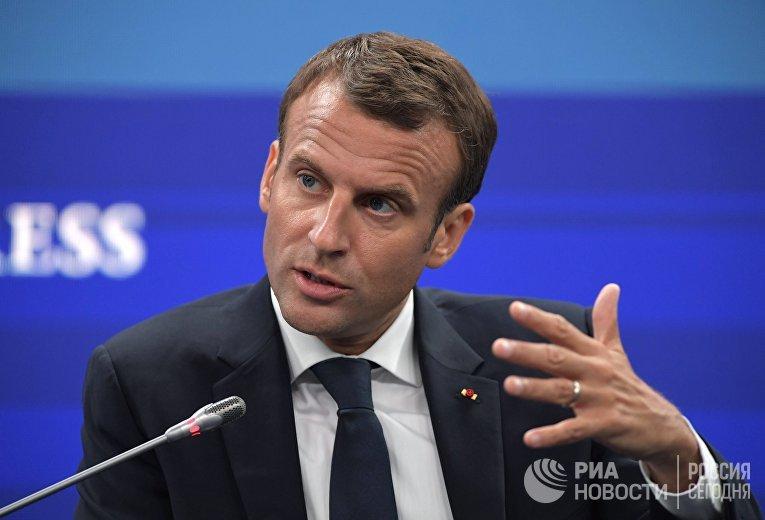 Президент Франции Эммануэль Макрон на Петербургском международном экономическом форуме. 25 мая 2018