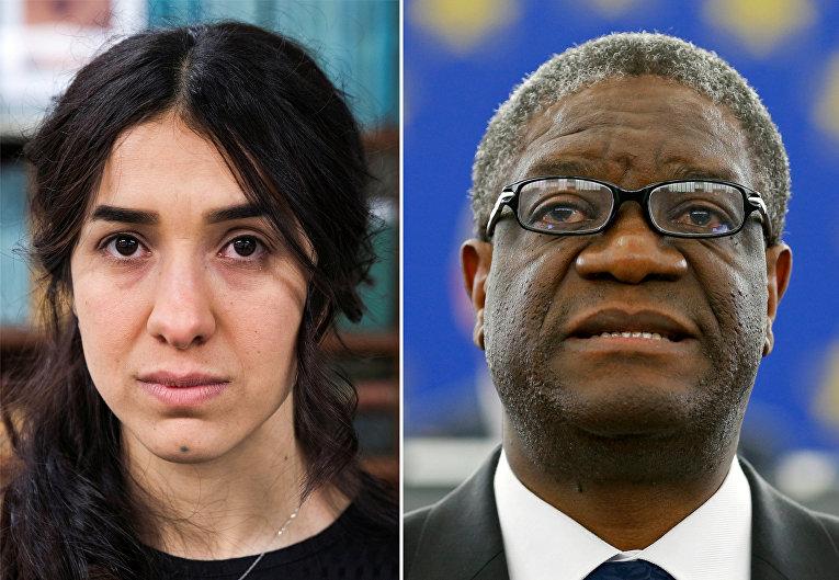 Лауреаты Нобелевской премии мира 2018 года Надия Мурад (Ирак) и Денис Муквеге (Конго)