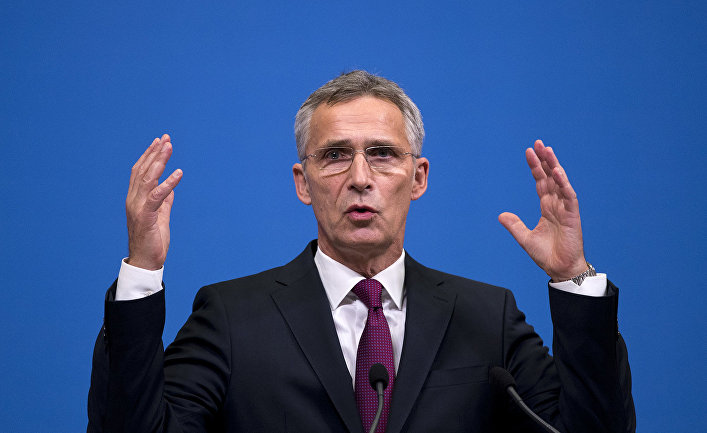 Генеральный секретарь НАТО Йенс Столтенберг во время пресс-конференции