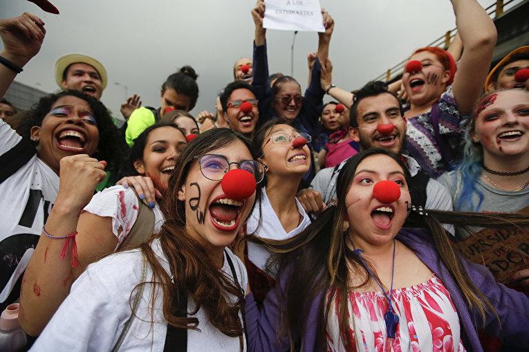 Акция протеста студентов в Богота, Колумбия