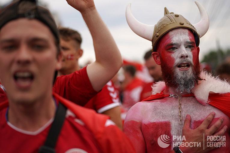 Датские болельщики на ЧМ по футболу - 2018 в России