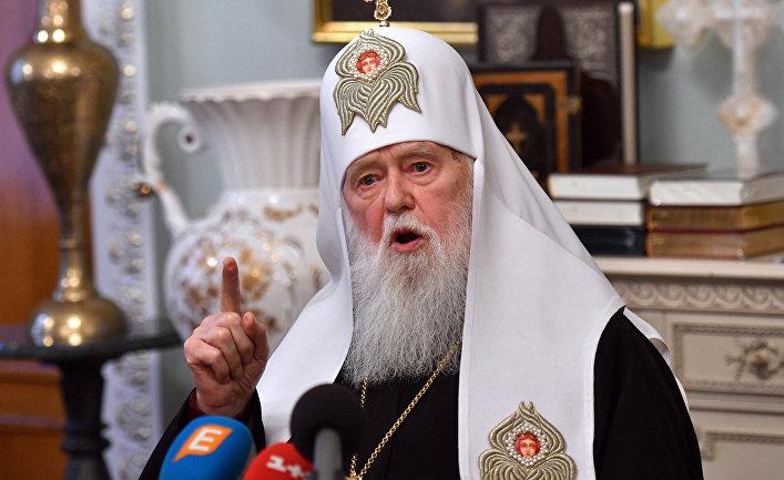 Глава Украинской православной церкви Киевского патриархата патриарх Филарет на пресс-конференции в Киеве