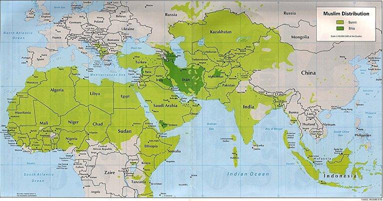 Сунниты и шииты на карте мира