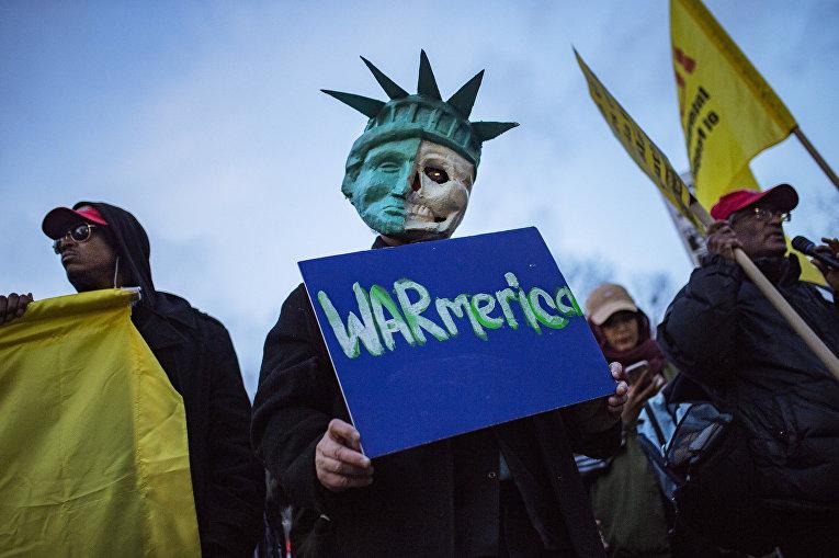 Протесты против ударов США по Сирии, Нью-Йорк