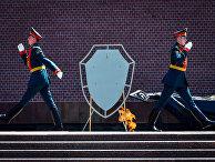 Почетный караул у стен московского Кремля