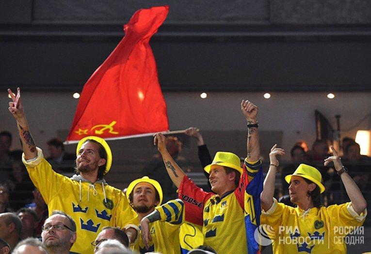 Болельщики во время матча группового этапа Чемпионата мира по хоккею 2017 между сборными командами Швеции и России
