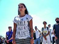 Девушка во время массовых протестов в Стамбуле