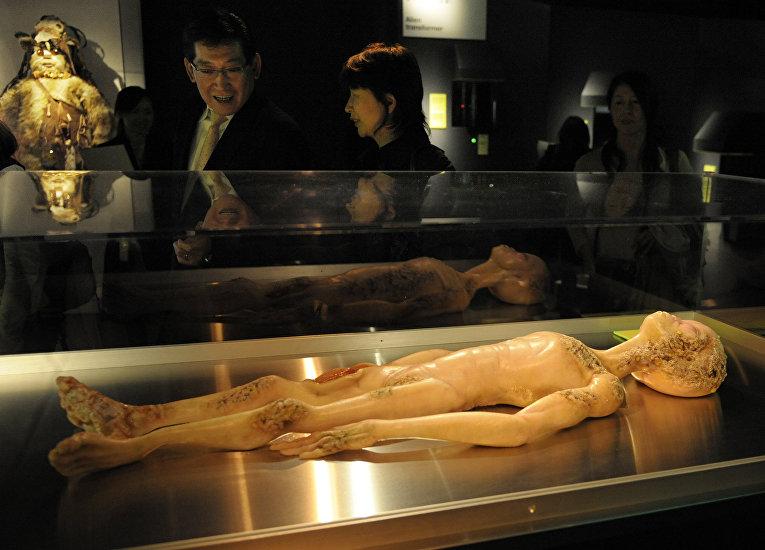 Посетители выставки «Наука о инопланетянах» в Токио