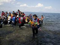 Беженцы, прибывшие на остров Лесбос из Турции