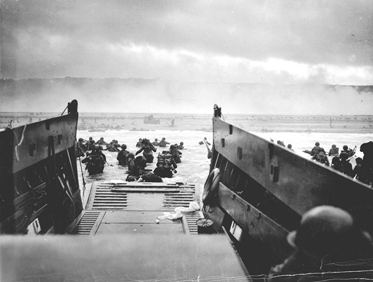 Американские солдаты на пляже Омаха