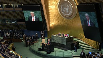 Президент США Дональд Трамп выступает на Генеральной ассамблее ООН в Нью-Йорке
