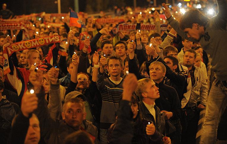 Жители Ярославля проводят шествие в память о погибших хоккеистах