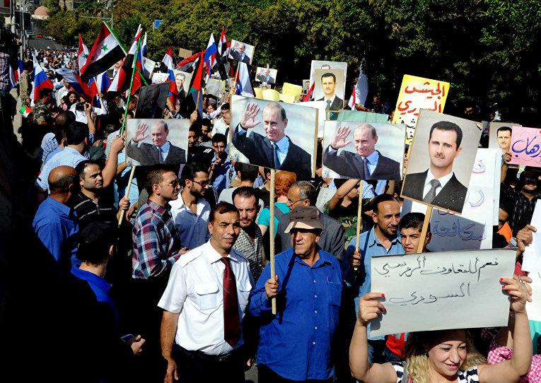 Митинг сторонников Башара Асада и Владимира Путина в Дамаске