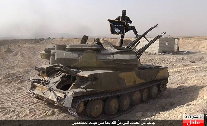 Боец ИГИЛ (запрещена в РФ) на танке, захваченном у сирийских военных, в городе Эль-Карьятейн