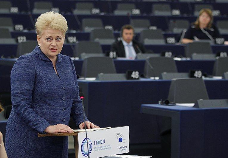 Даля Грибаускайте во время выступления в Европейском парламенте