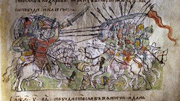 """Миниатюра """"Битва князя Святослава с хазарами"""""""