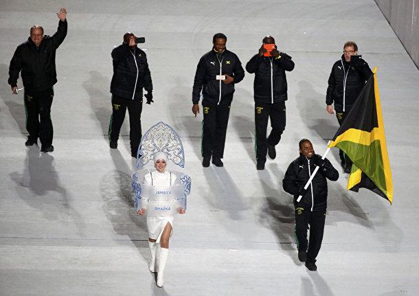 Делегация Ямайки на церемонии открытия Олимпиады в Сочи
