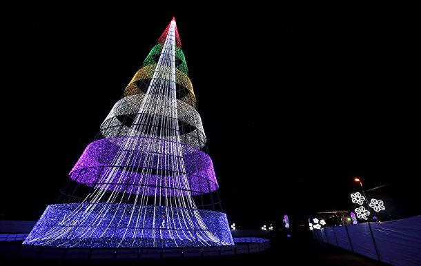 Рождественская елка в парке Симона Боливара в Боготе, Колумбия