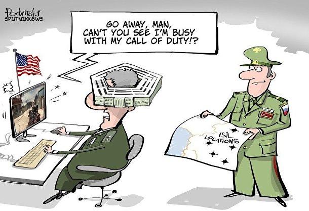 Карикатура Виталия Подвицкого на тему действий России в Сирии