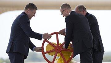 Премьер-министр Украины Арсений Яценюк и премьер-министр Словакии Роберт Фицо открывают реверс газа на Украину