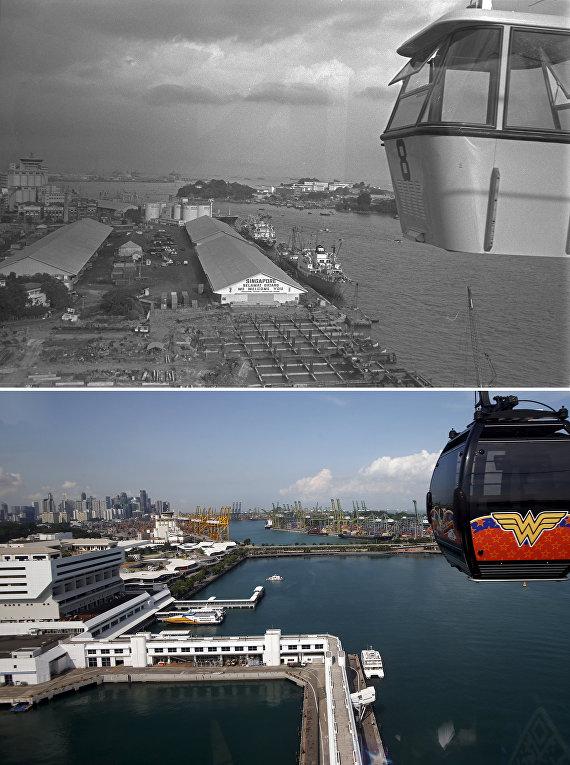 Фуникулер в Сингапуре 50 лет назад и сейчас