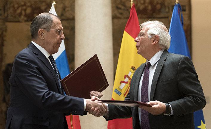 Министр иностранных дел Испании Хосеп Боррелл и Министр иностранных дел РФ Сергей Лавров в Мадриде