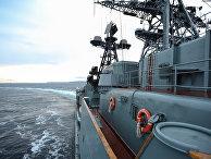 Большой противолодочный корабль Северного флота «Североморск» вводах Баренцева моря