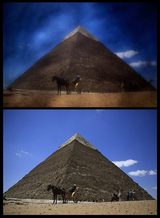 Пирамиды в Гизе, сверху – сфотографированные через никаб