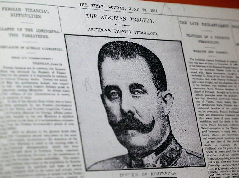 Сообщение об убийстве эрцгерцога Франца Фердинанда на первой странице лондонской газеты 1914 года