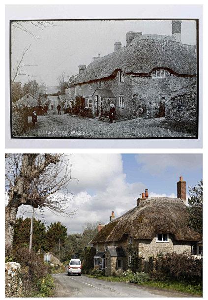 Дважды благословенная деревня Лэнгтон-Херринг в начале 20-го века и в настоящее время