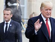 Президент США Дональд Трамп покидает Елисейский дворец в Париже