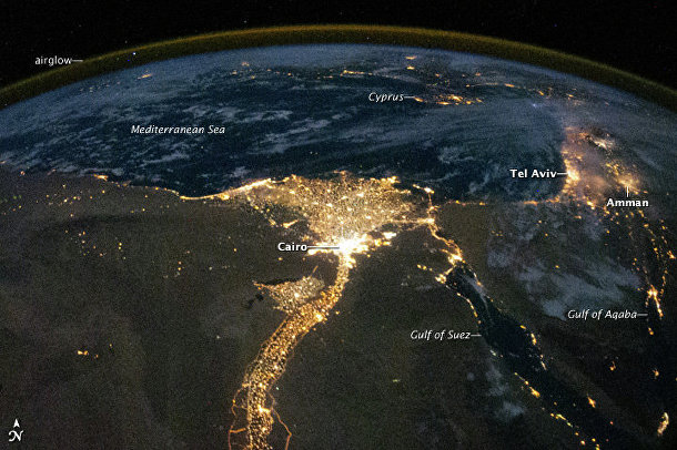 Космический снимок дельты реки Нил, Средиземного моря и Аравийского полуострова