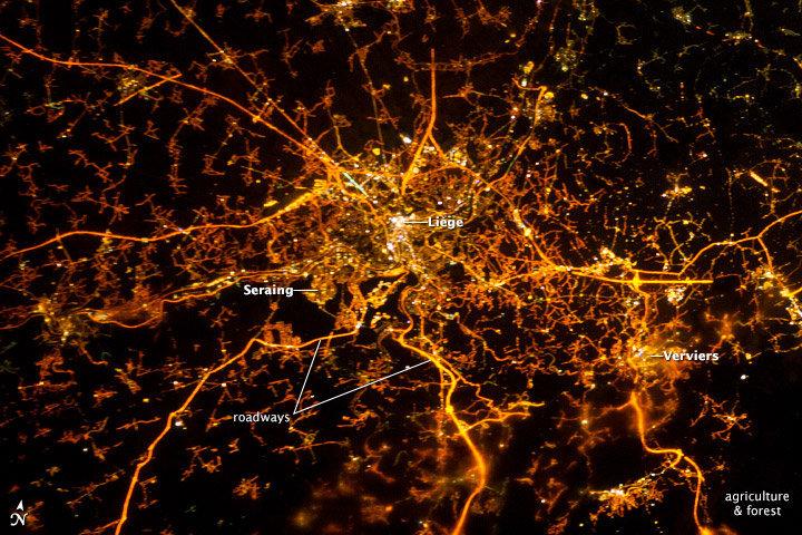 Космический снимок бельгийского города Льеж