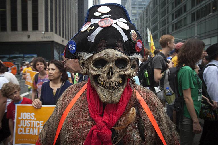 Марш против изменения климата в Нью-Йорке