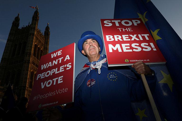 Противник выхода Великобритании из ЕС во время акции протеста у здания парламента в Лондоне
