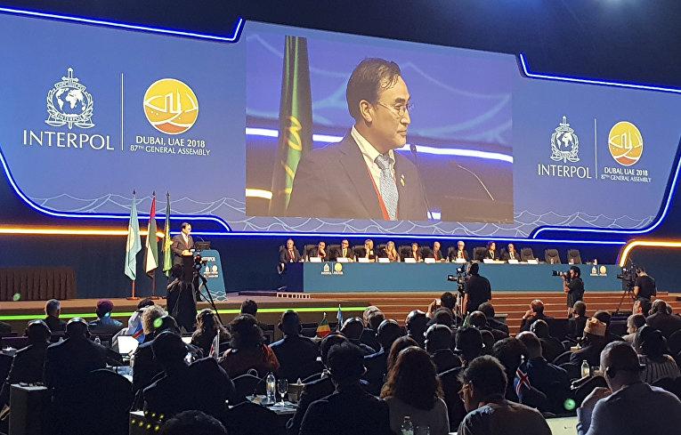 Ким Чен Ян выступает на 87-й Генеральной Ассамблее Интерпола в Дубае