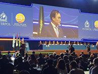 Новый президент Интерпола Ким Чон Ян выступает 87-й Генеральной Ассамблее Интерпола в Дубае