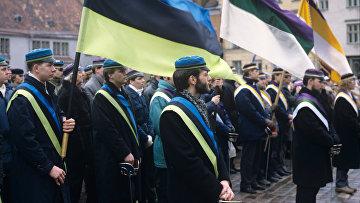 Студенческий митинг во время празднования дня независимости Эстонии