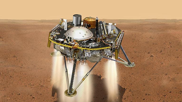 Так художник представил себе посадку платформы InSight на Марс