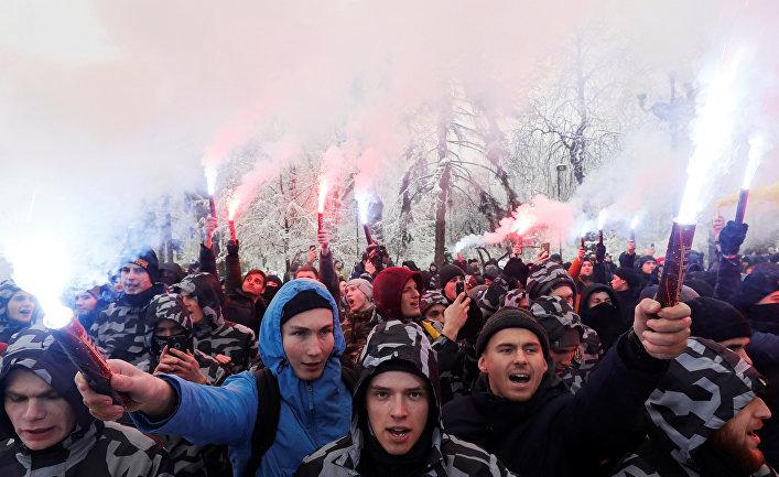 Участники акции у здания администрации президента Украины в Киеве. 26 ноября 2018