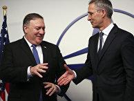 Государственный секретарь США Майк Помпео и генеральный секретарь НАТО Йенс Столтенберг в штаб-квартире НАТО в Брюсселе