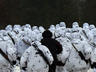 Украинские солдаты принимают участие в военных маневрах в учебном центре сухопутных войск Украины в окрестностях Гончаровского в Черниговской области