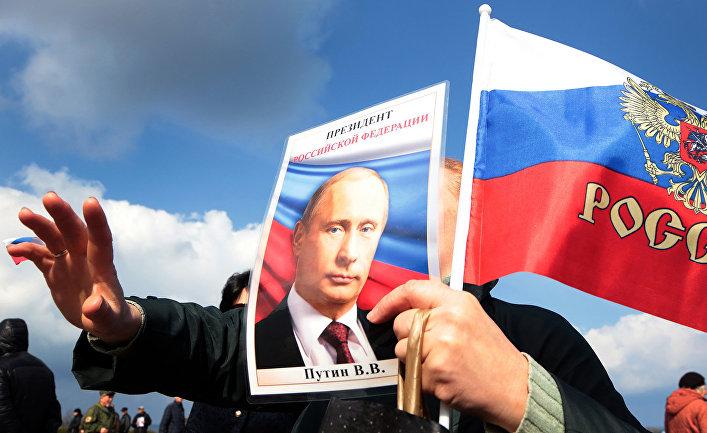 Акция в честь третьей годовщины присоединения Крыма в Севастополе