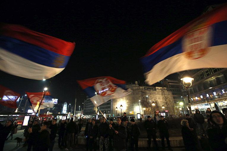 Акция протеста против 10-й годовщины независимости Косово