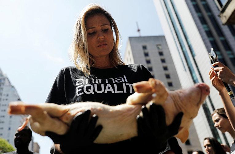 Активисты во время митинга против жестокого обращения с животными в Сан-Паулу