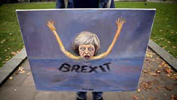 Карикатура художника, изображающая премьер-министра Великобритании Терезу Мэй