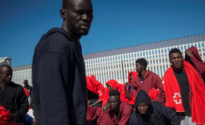 Мигранты в испанском городе Альхесирас