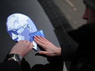 Оформление машин участников автопробега в поддержку В. Путина